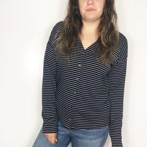 ANN TAYLOR Navy Blue Striped Button Down Knit Top